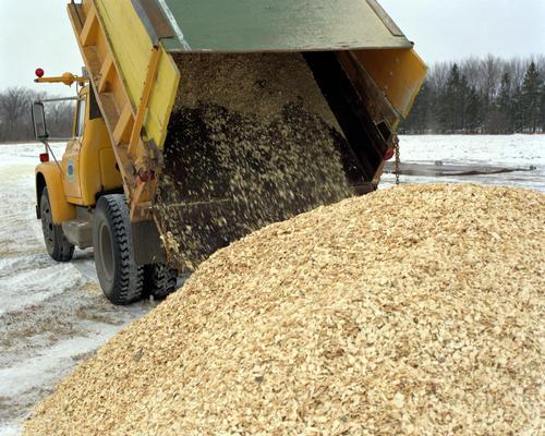 Dump truck dumping wood chips